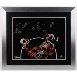 2013–14 Brooklyn Nets 23x27 Custom Framed Photo Display Signed by (8) Brook Lopez, Andrei Kirilenk