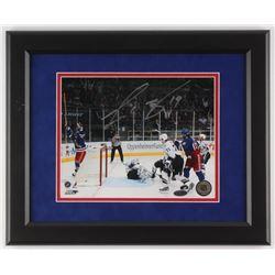 Scott Gomez Signed New York Rangers 13.25x16.5 Custom Framed Photo Display (Steiner COA)