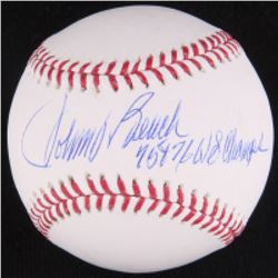 "Johnny Bench Signed OML Baseball Inscribed ""75  76 WS Champs"" (JSA COA)"