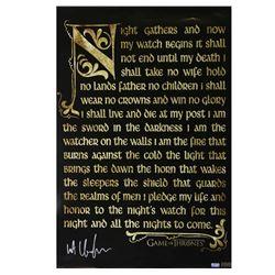 "Kit Harington Signed ""Game of Thrones"" 24x36 Nights Watch Oath Poster (Radtke COA)"