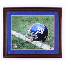 New York Giants Greats 23x27 Custom Framed Photo Display Signed by (15) With Lawrence Taylor, Harry
