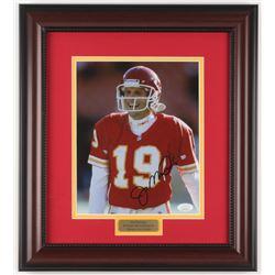 Joe Montana Signed Kansas City Chiefs 14.75x16.5 Custom Framed Photo Display (JSA COA)