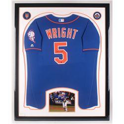 David Wright Signed New York Mets 34.5x42.5 Custom Framed Jersey Display (Steiner COA)