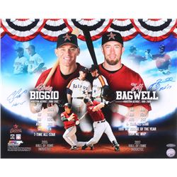 "Craig Biggio  Jeff Bagwell Signed Houston Astros 16x20 Photo Inscribed ""HOF 15""  ""HOF '17"" (TriStar"