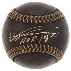 """Vladimir Guerrero Signed OML Black Leather Baseball Inscribed """"HOF 18"""" (JSA COA)"""