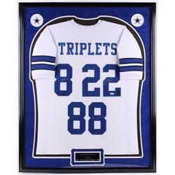 "Emmitt Smith, Troy Aikman  Michael ""Playmaker"" Irvin Signed 34x42 Custom Framed Jersey Display (PSA"