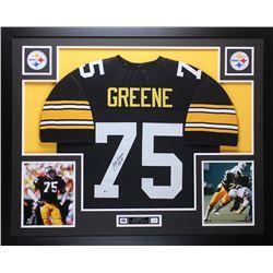 """Joe Greene Signed 35x43 Custom Framed Jersey Inscribed """"HOF 87"""" (Beckett COA)"""