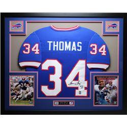 """Thurman Thomas Signed 35x43 Custom Framed Jersey Inscribed """"HOF 07"""" (JSA COA)"""