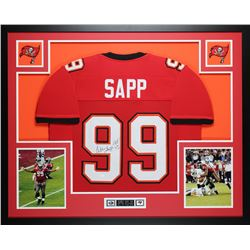 "Warren Sapp Signed 35"" x 43"" Custom Framed Jersey Inscribed ""HOF 13"" (JSA COA)"