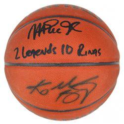 "Magic Johnson  Kobe Bryant Signed NBA Basketball Inscribed ""2 Legends, 10 Rings"" (PSA COA)"
