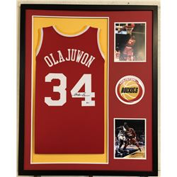 Hakeem Olajuwon Signed 34x42 Custom Framed Jersey (Beckett COA)