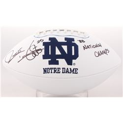"""Raghib """"Rocket"""" Ismail Signed Notre Dame Fighting Irish Logo Football Inscribed """"88 National Champs"""""""