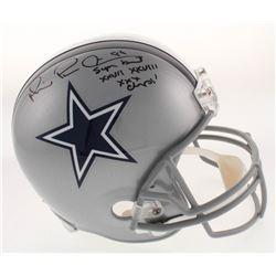 "Michael ""Playmaker"" Irvin Signed Dallas Cowboys Full-Size Helmet Inscribed ""Super Bowl XXVII XXVIII"