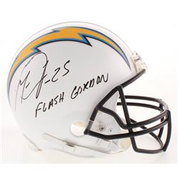 """Melvin Gordon Signed Los Angeles Chargers Full-Size Authentic On-Field Helmet Inscribed """"Flash Gordo"""