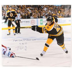 """Torey Krug Signed Boston Bruins 34x38 Stretched Canvas Display Inscribed """"1st NHL Goal / 1st Playoff"""