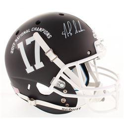 """Nick Saban Signed """"2017 BCS National Champions"""" Alabama Crimson Tide Full-Size Matte Black Helmet (R"""