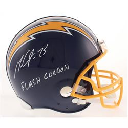 """Melvin Gordon Signed Los Angeles Chargers Throwback Full-Size Authentic On-Field Helmet Inscribed """"F"""