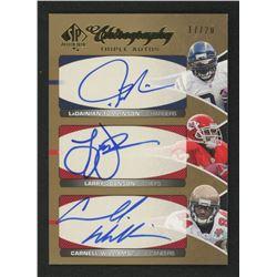 2006 SP Authentic Chirography Triples #TJW LaDainian Tomlinson / Larry Johnson / Cadillac Williams