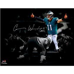 "Carson Wentz Signed Philadelphia Eagles 11x14 Photo Inscribed ""AO1"" (Fanatics Hologram)"