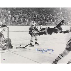 "Bobby Orr Signed Boston Bruins 1970 Stanley Cup 16x20 Photo Inscribed ""HOF '79"" (PSA COA)"