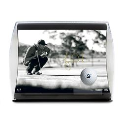 """Tiger Woods Signed """"Lining It Up"""" 5.5x7x11 Limited Edition Curve Display (UDA COA)"""