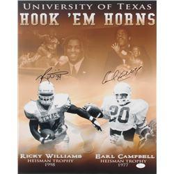 Earl Campbell  Ricky Williams Signed Texas Longhorns Hook 'Em Horns 16x20 Photo (JSA COA)
