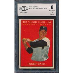 1961 Topps #478 Roger Maris MVP (BCCG 8)