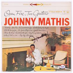 """Johnny Mathis Signed """"Open Fire Two Guitars"""" Record Cover (PSA COA)"""