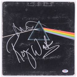 """Roger Waters  Nick Mason Signed Pink Floyd """"The Dark Side of the Moon"""" Record Album Cover (PSA COA)"""