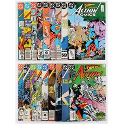 """Lot of (18) 1989-1990 DC """"Action Comics"""" Books with Issues #523, #533, #545, #556, #558, #559"""