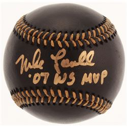 """Mike Lowell Signed OML Black Leather Baseball Inscribed """"'07 WS MVP"""" (JSA COA)"""