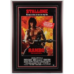 """Sylvester Stallone Signed """"Rambo: First Blood Part II"""" 33x 47.25 Custom Framed Movie Poster Displa"""