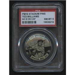 PM10 Stadium Pins Ted Williams / No B on Cap (PSA 8)