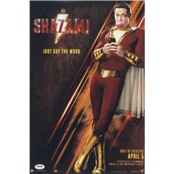 "Zachary Levi Signed ""Shazam! "" 12x18 Movie Poster Print (PSA COA)"