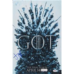"Jacob Anderson Signed ""Game of Thrones"" 12x18 Poster Print (PSA COA)"