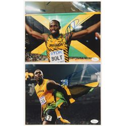 Lot of (2) Usain Bolt Signed 8x10 Photos (JSA COA)