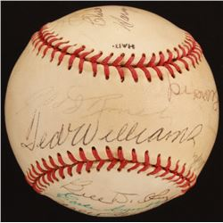 Baseball Hall of Famers OL Baseball Signed by (18) with Bob Feller, Ted Williams, Bill Dickey, Casey