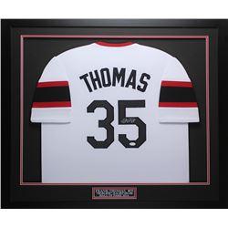 Frank Thomas Signed 32x37 Custom Framed Jersey Display (JSA COA)