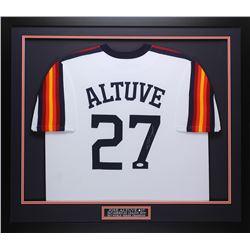 Jose Altuve Signed 32x37 Custom Framed Jersey (JSA COA)