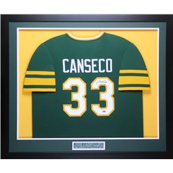 Jose Canseco Signed 32x37 Custom Framed Jersey Display (Leaf COA)