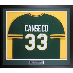 Jose Canseco Signed 32x37 Custom Framed Jersey Display (JSA COA)