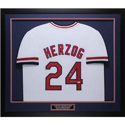 "Whitey Herzog Signed 32x37 Custom Framed Jersey Display Inscribed ""HOF 2010"" (JSA COA)"