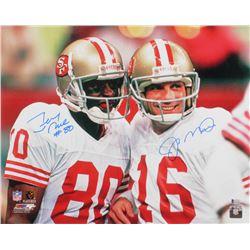Jerry Rice  Joe Montana Signed San Francisco 49ers 16x20 Photo (Beckett COA)