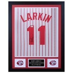 Barry Larkin 24x30 Custom Framed Jersey Display (JSA COA)