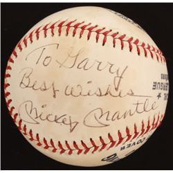 """Mickey Mantle Signed OML Baseball Inscribed """"Best Wishes"""" (Beckett LOA)"""