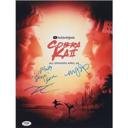 """Cobra Kai"" 11x14 Photo Signed by (4) with Mary Mouser, Martin Kove, Xolo Mariduena  Tanner Buchanan"