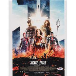 "Ezra Miller, Ben Affleck  Jason Momoa Signed ""Justice League"" 11x14 Photo (PSA LOA)"