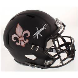 Alvin Kamara Signed New Orleans Saints Full-Size Matte Black Speed Helmet (JSA COA)