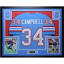 """Earl Campbell Signed 35x43 Custom Framed Jersey Inscribed """"HOF 91"""" (JSA COA)"""