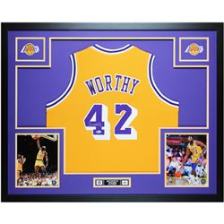 James Worthy Signed 35x43 Custom Framed Jersey (Beckett COA)